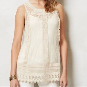 Moulinette Soeurs Anthropologie Lace Overlay Tunic